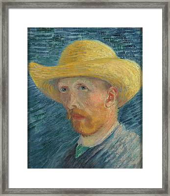 Self Portrait 1887 With Straw Hat 03 Framed Print by Vincent Van Gogh