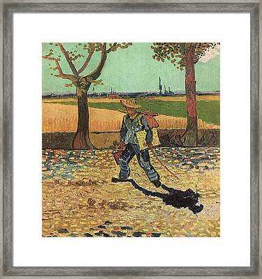 Self Portrait 1888 On The Road To Tarascon The Painter On His Way To Work Framed Print by Vincent Van Gogh