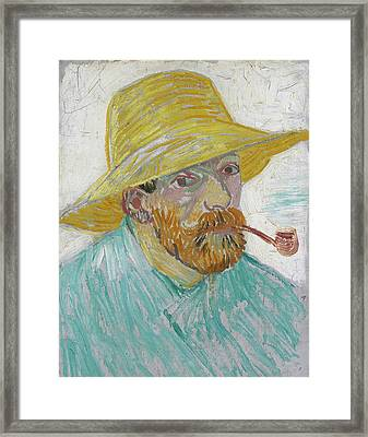 Self Portrait 1888 With Pipe And Straw Hat Framed Print by Vincent Van Gogh