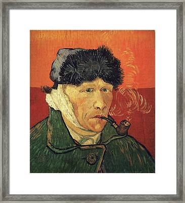 Self Portrait 1889 With Bandaged Ear And Pipe Framed Print by Vincent Van Gogh