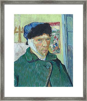 Self Portrait 1889 With Bandaged Ear Framed Print by Vincent Van Gogh