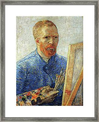 Framed Print featuring the painting Self Portrait As An Artist by Van Gogh