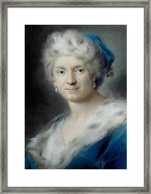 Self-portrait As Winter Framed Print by Rosalba Carriera