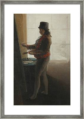 Self-portrait At The Easel Framed Print