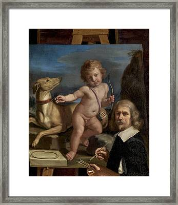Self-portrait Before A Painting Of Amor Fedele Framed Print by Giovanni Francesco Barbieri - Called Guercino