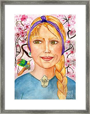 Self Portrait, Cherry Blossoms, Humming Bird Framed Print by Debbie Davidsohn