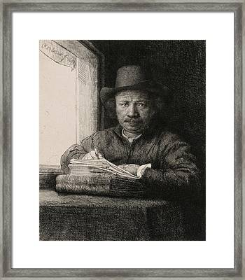 Self-portrait Drawing At A Window Framed Print
