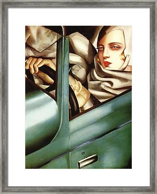 Self Portrait In A Green Bugatti Framed Print by Tamara de Lempicka