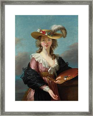 Self Portrait In A Straw Hat Framed Print