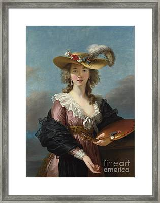 Self-portrait In A Straw Hat Framed Print