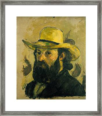 Self Portrait In A Straw Hat Framed Print by Paul Cezanne