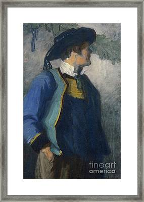 Self-portrait In Bretonnian Garb Framed Print by Franz Marc
