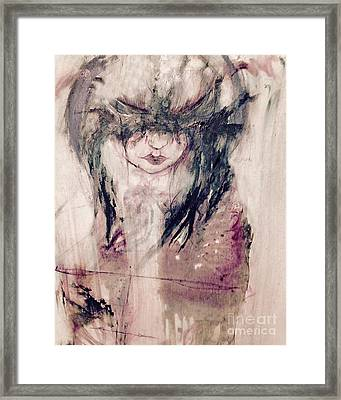 Self Portrait In Ink And Water Color Framed Print by Rebecca  Lemke