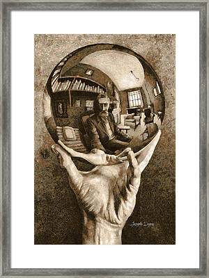 Self-portrait In Spherical Mirror By Escher Revisited Framed Print