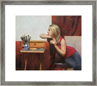 Self Portrait In The Studio Framed Print by Anna Rose Bain