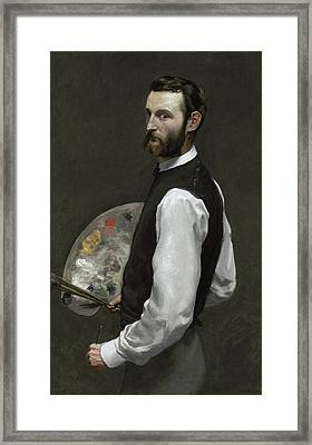 Self Portrait Framed Print by Jean Frederic Bazille