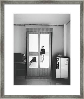 Self Portrait On Mirror Wardrobe Framed Print by Sirikorn Techatraibhop