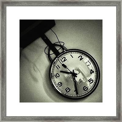 Self-portrait On My Clock #clock #time Framed Print