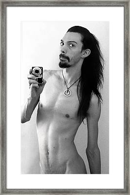 Self Portrait The Mirror Bw Framed Print