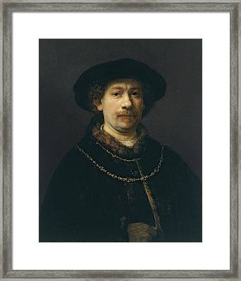 Self-portrait Wearing A Hat And Two Chains  Framed Print