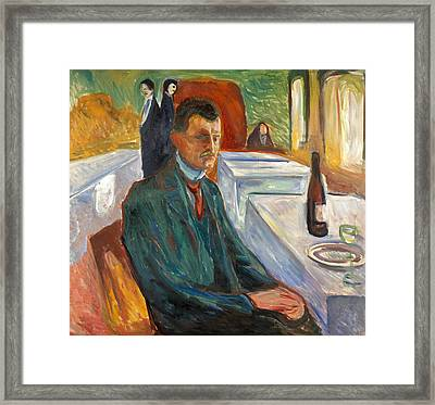 Self-portrait With A Bottle Of Wine Framed Print by Edvard Munch