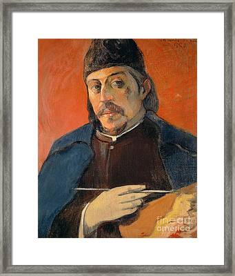 Self Portrait With A Palette Framed Print by Paul Gauguin