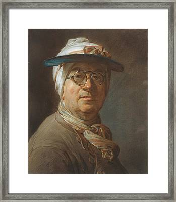 Self-portrait With A Visor Framed Print