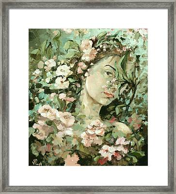 Self Portrait With Aplle Flowers Framed Print