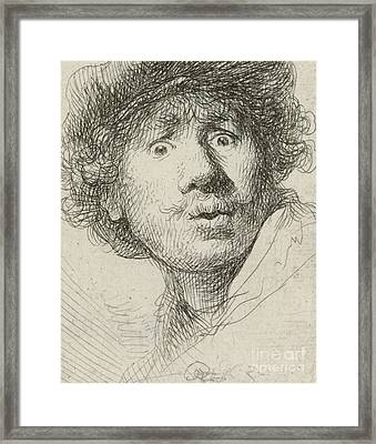 Self-portrait With Beret And Wide-eyed, 1630 Framed Print