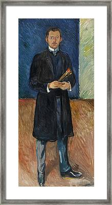 Self-portrait With Brushes Framed Print by Edvard Munch