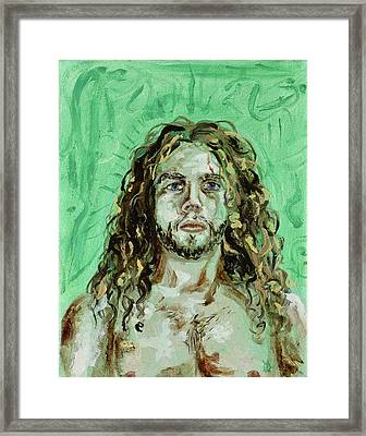 Self Portrait -with Emerald Green And Mummy Brown- Framed Print