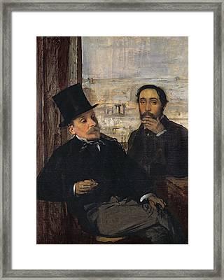 Self Portrait With Evariste De Valernes Framed Print by Edgar Degas