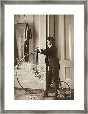 Self-portrait With False Moustache And Penny-farthing Framed Print