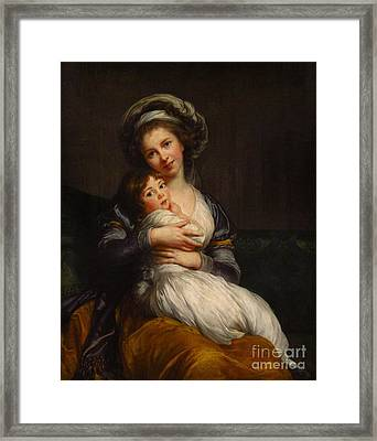 Self-portrait With Her Daughter Jeanne-lucie Framed Print