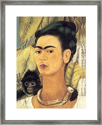 Self Portrait With Monkey  Framed Print by Frida Kahlo