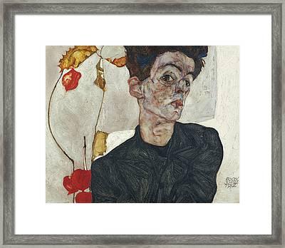 Self-portrait With Physalis Framed Print by Egon Schiele