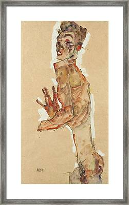Self-portrait With Splayed Fingers Framed Print