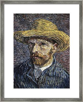Self - Portrait With Straw Hat1 Framed Print by Vincent Van Gogh