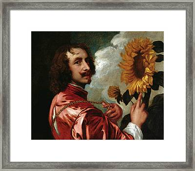 Self-portrait With Sunflower Framed Print
