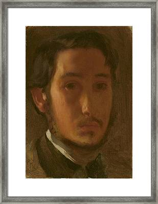Self-portrait With White Collar Framed Print by Edgar Degas