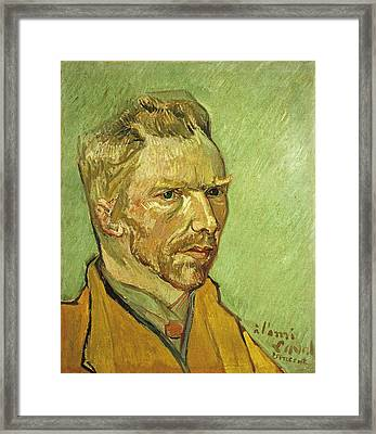 Self Portrait Yellow Framed Print by Vincent Van Gogh