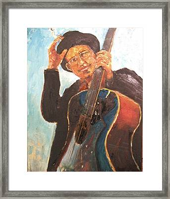 Self Potrait As Bob Dylan  Framed Print by Udi Peled