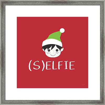Selfie Elf- Art By Linda Woods Framed Print by Linda Woods
