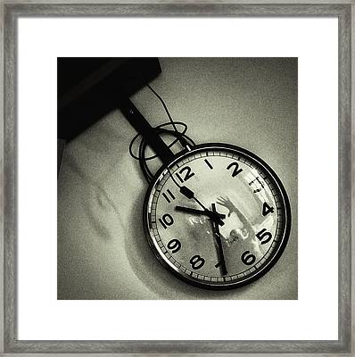 Selfportrait On A Clock Framed Print by Rafa Rivas