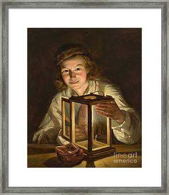 Selfportrait With A Lantern Framed Print by Celestial Images