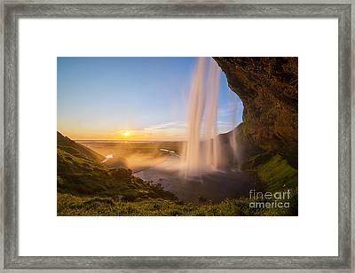 Seljalandsfoss Sunset Iceland Framed Print