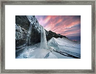 Seljalandsfoss Sunset Framed Print by Traumlichtfabrik