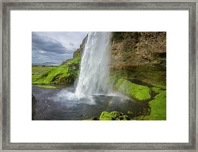 Seljalandsfoss With Rainbow, Iceland Framed Print
