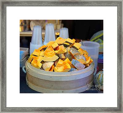 Framed Print featuring the photograph Selling Fresh Pumpkin Shakes by Yali Shi