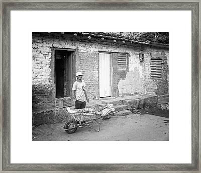 Selling Peppers In Trinidad Cuba Bw Framed Print